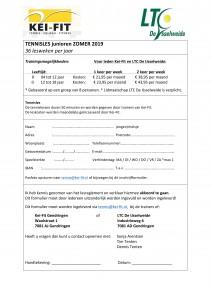 2019 Keifit Tennisles inschrijfformulier Junioren - Gendringen